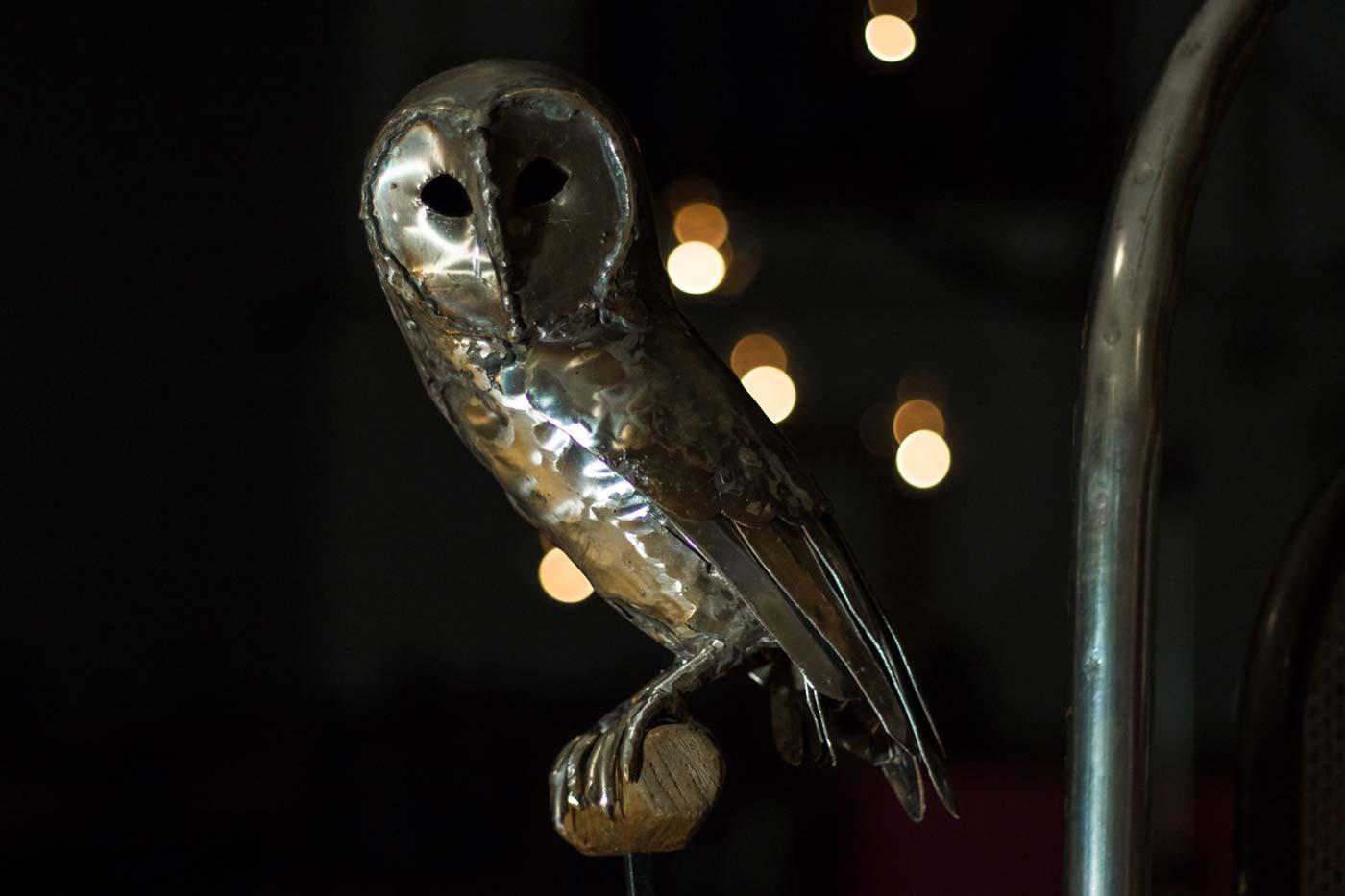Sitting Barn Owl (stainless steel)