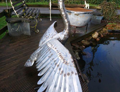 Large Landing Swan Sculpture