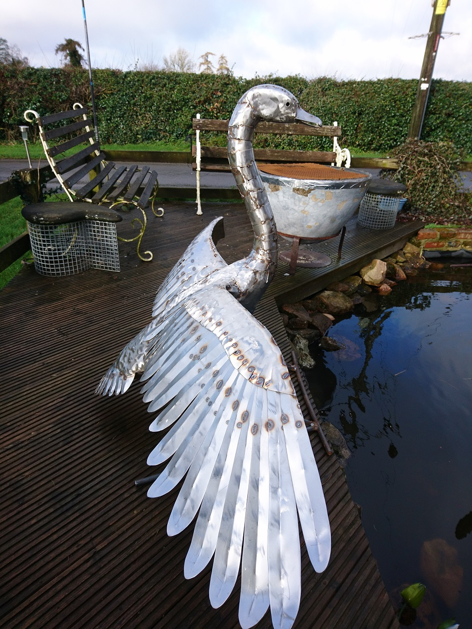 Large Landing Swan Sculpture